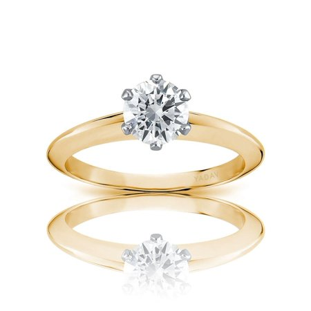 Solitaire Ring with Center Round Diamond 0.81ct I SI2. Graded by GIA cert ()