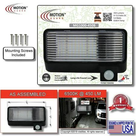 MG1000-450 12 Volt Exterior Motion RV LED Porch Light, RV Security Motion Porch Light, Black