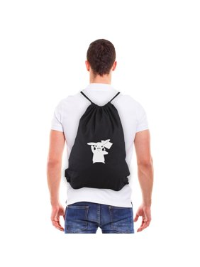 Pokemon Pikachu Eco-friendly Reusable Canvas Draw String Bag Black & White
