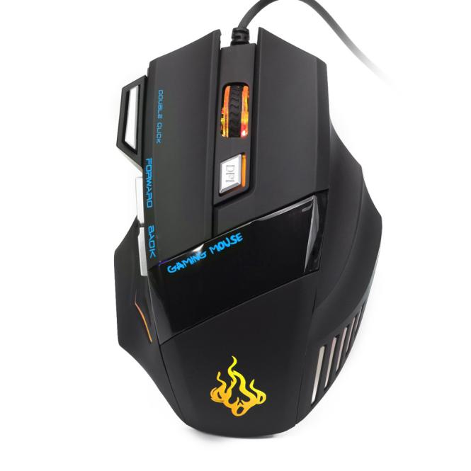 7 Buttons 5500 DPI Wired Gaming Mouse LED Optical Game Mice For PC Laptop BU