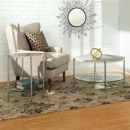 2 piece round coffee table set white faux marble and chrome. Black Bedroom Furniture Sets. Home Design Ideas