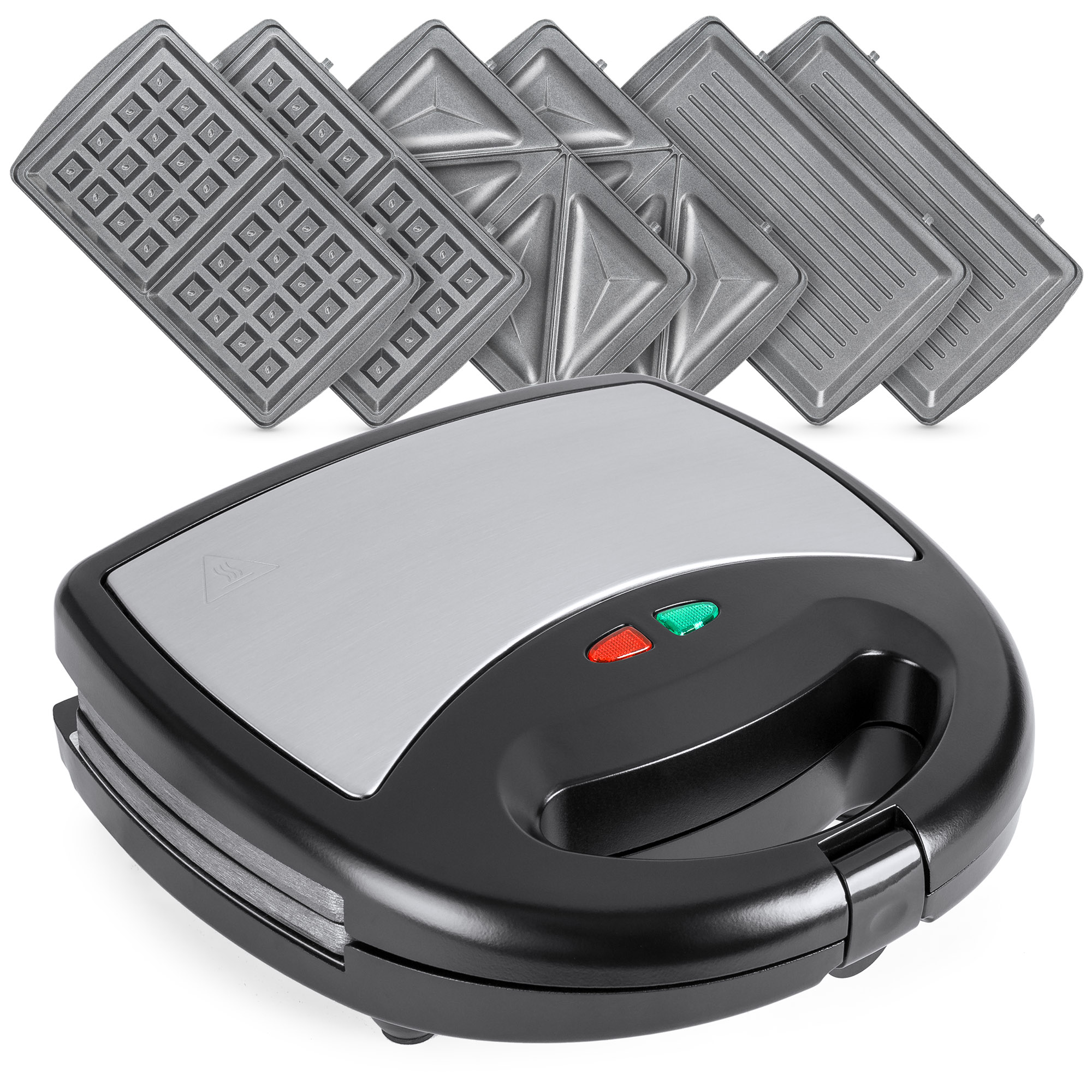 Best Choice Products 3-in-1 750W Dishwasher Safe Non-Stick Stainless Steel Electric Sandwich Waffle Panini Maker Press w/ 3 Interchangeable Grill Plates, Auto Shut Down, LED Indicator Light - Black