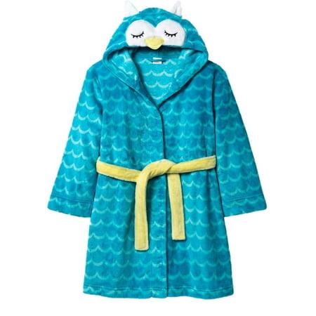 Girls Plush Blue Owl Bath Robe Housecoat