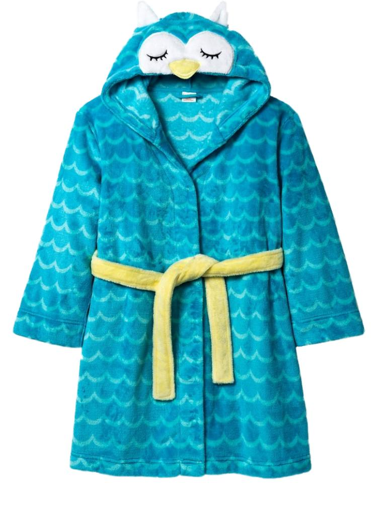 Girls Plush Blue Owl Bath Robe Housecoat