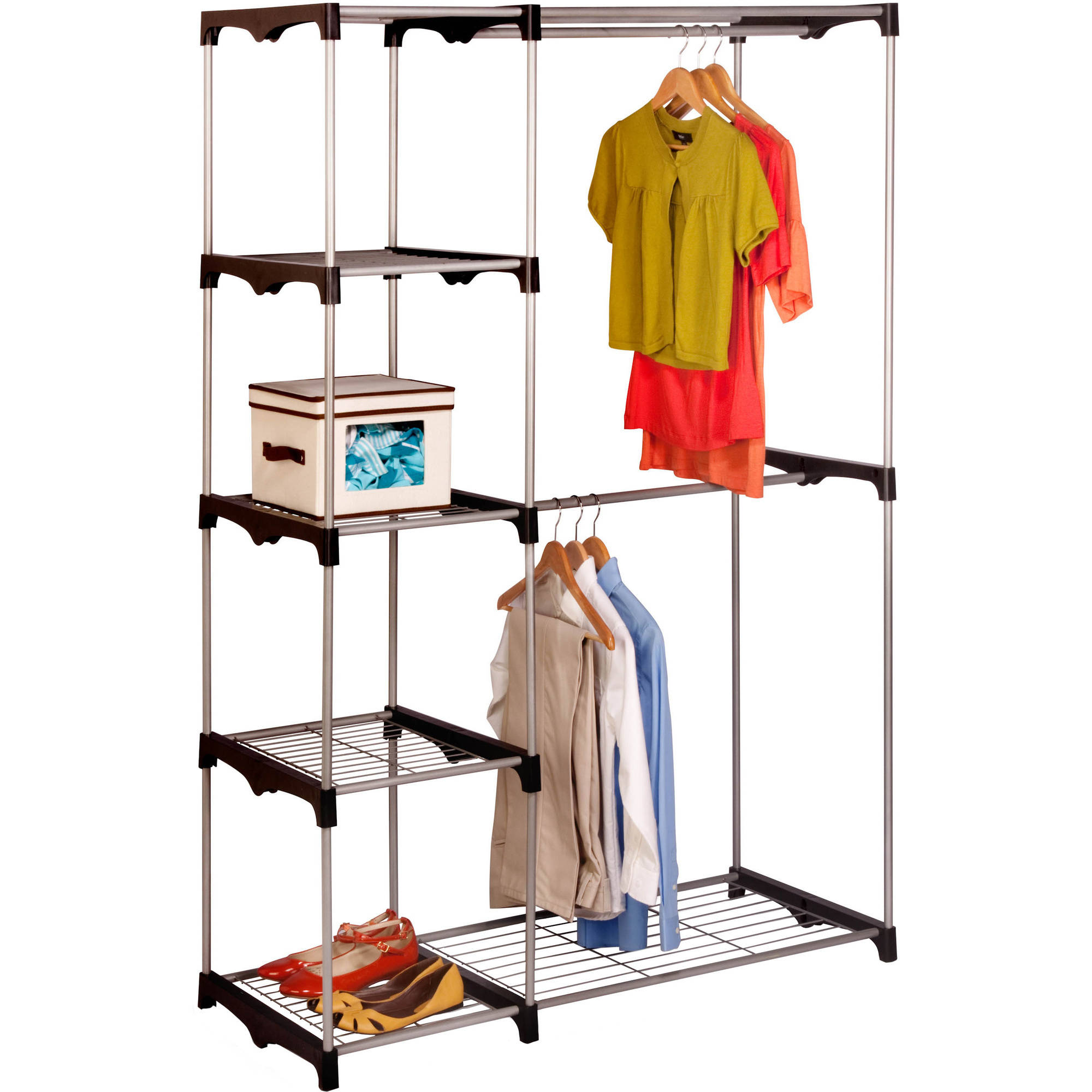 Honey Can Do Double Rod Freestanding Closet, Silver/Black