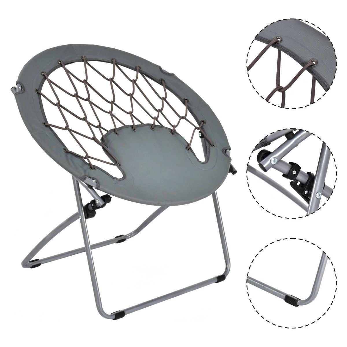 Goplus Folding Round Bungee Chair Steel Frame Outdoor Camping Hiking Garden Patio