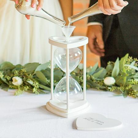 Personalized Silver Unity Sand Ceremony Hourglass - Unity Sand Set