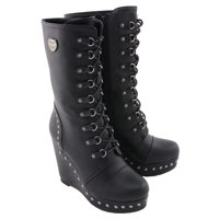 Milwaukee Performance MBL9438 Womens Black Lace-Up Boots with Platform Wedge Black