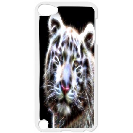 White Fractal Tiger Hard White Plastic Case Compatible with the Apple iPod Touch 5th Generation - iTouch 5 Universal (Detroit Tigers Ipod 5 Cases)