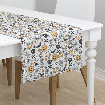Table Runner Halloween Bat Spider Web Ghost Trick Or Treat Skulls Cotton Sateen