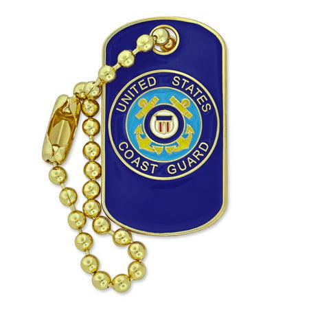 Guard Lapel Pin (PinMart's Military U.S. Coast Guard Dog Tag Key Chain Enamel Lapel)