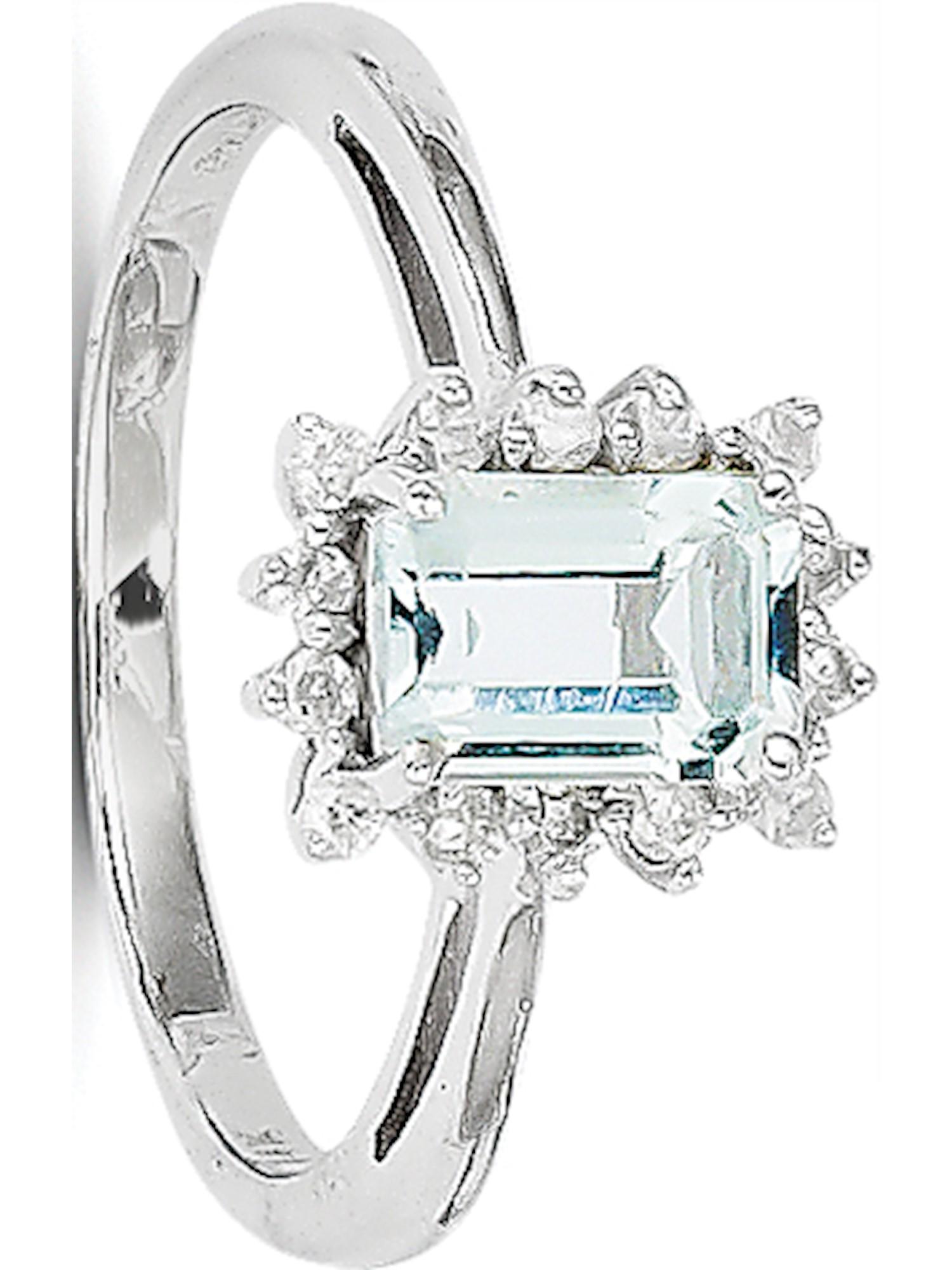 14k White Gold White Aquamarine and Diamond Ring by