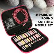 10 Pairs Interchangeable Circular Knitting Needles Aluminum Head Crochet Hooks Set Knitting Tool DIY Sewing Accessories