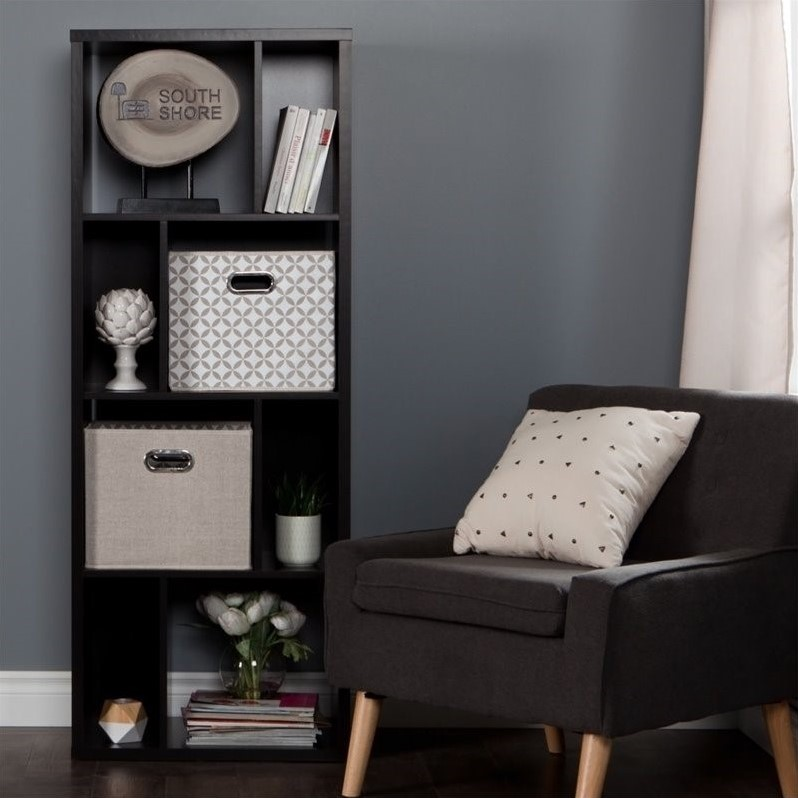 South Shore Reveal 8 Cubby Wood Bookcase in Chocolate with 2 Baskets