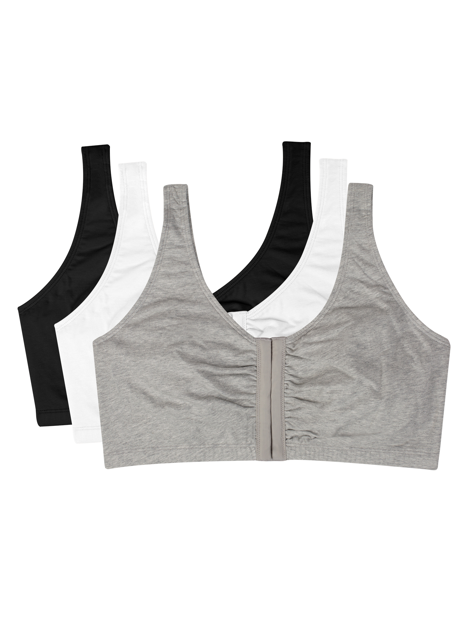 Womens Comfort Front Close Sports Bra, 3 Pack, Style 96014D