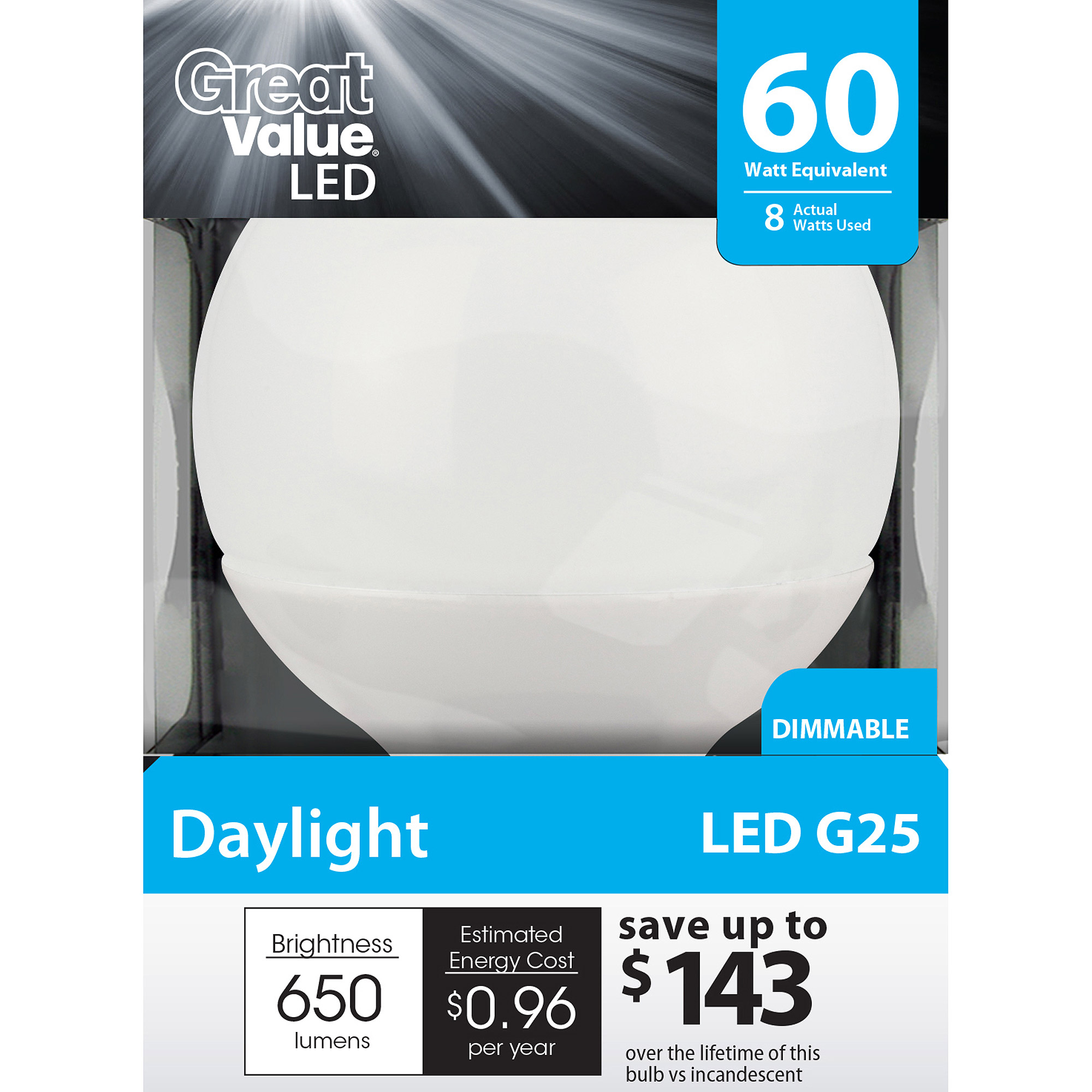 Great Value LED Light Bulb 8W (60W Equivalent) G25 (E26) Dimmable, Daylight