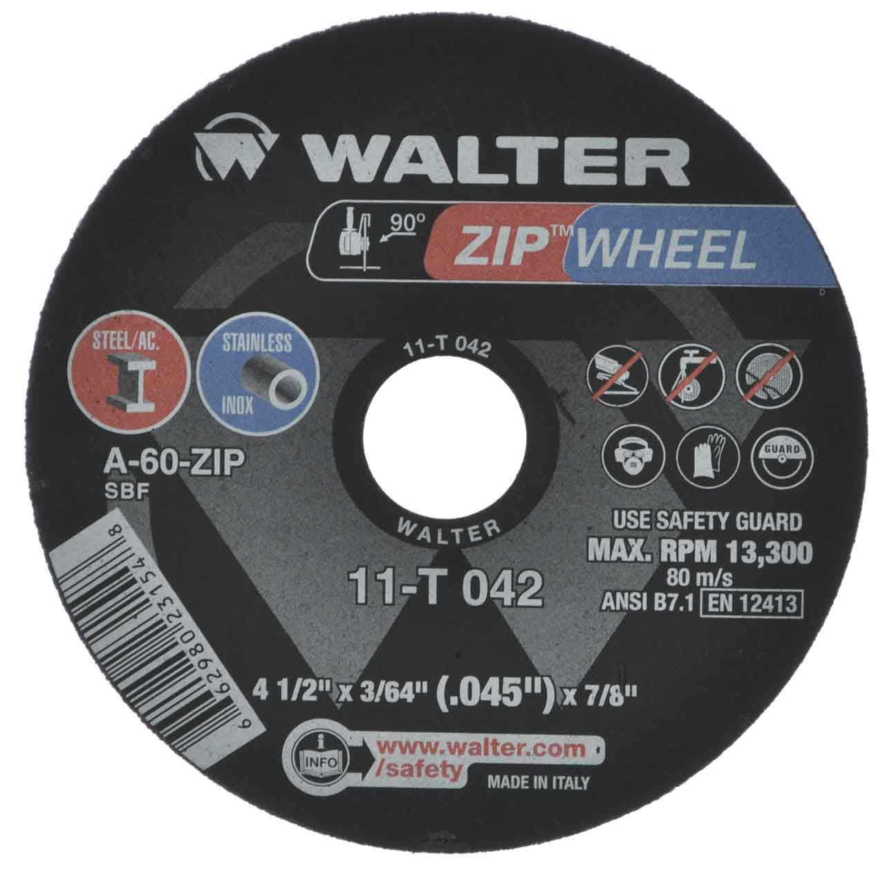 Walter 11T042 4-1/2x3/64x7/8 High Performance Zip Wheels Type 1 A60 Grit | PK=25