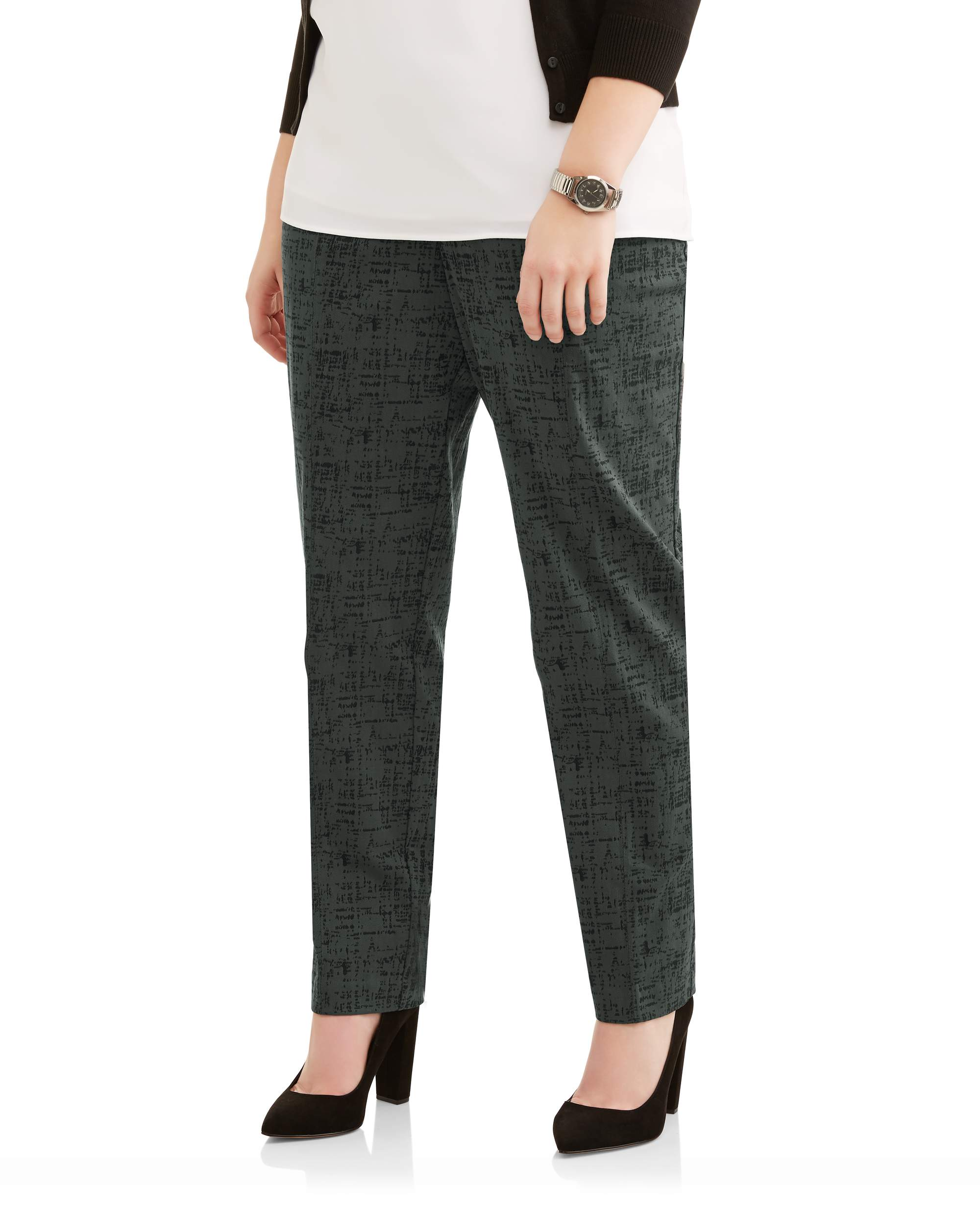 Women's Plus Printed Stretch Woven Straight Leg Career Pants