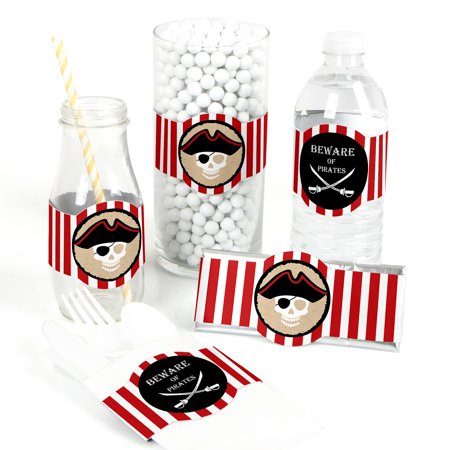 Beware of Pirates - DIY Pirate Birthday Party Wrapper Favors - Set of 15 - Pirate Themed Birthday Parties