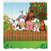 Cartoon Decor  Collection Of Cute Farm Animals On The Fence Comic Mascots With Dog Cow Horse For Kids Decor, Bathroom Accessories, 69W X 84L Inches Extra Long, By Ambesonne