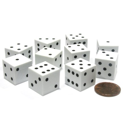 Diced Foam Insert - Koplow Games Set of 10 D6 16mm Foam Dice with Square Corners - White with Black Spots #16797