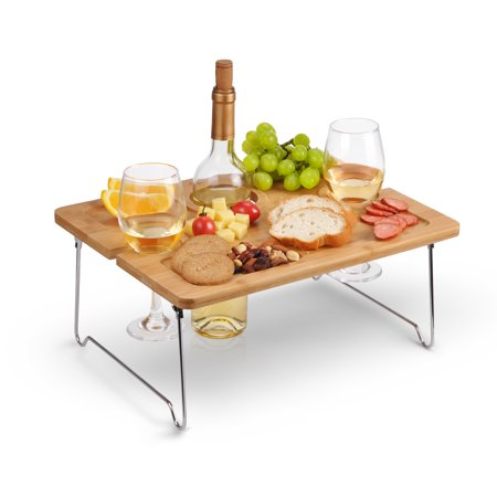 Kato Outdoor Wine Picnic Table, Folding Portable Bamboo Wine Glasses & Bottle, Snack and Cheese Holder Tray for Concerts at Park, beach, Ideal Wine Lover Gift ()
