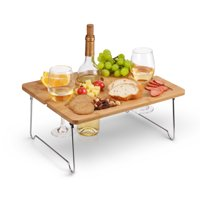 Kato Outdoor Wine Picnic Table, Folding Portable Bamboo Wine Glasses & Bottle, Snack and Cheese Holder Tray for Concerts at Park, beach, Ideal Wine Lover Gift