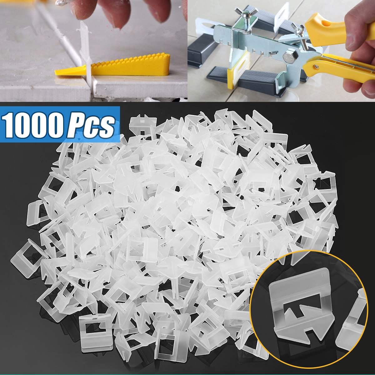 1000x 1.0mm White PE Plastic Tile Leveling System Clips Spacer Wall Tiling Flooring Tool
