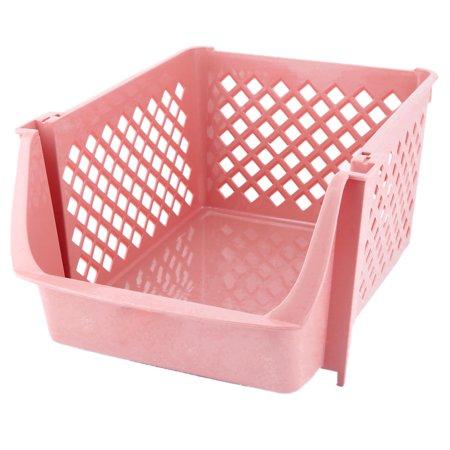 Unique BargainsKitchen Plastic Square Shaped Vegetable Beer Storage Basket Container Coral Pink