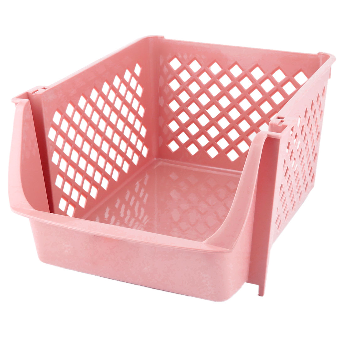 Unique BargainsKitchen Plastic Square Shaped Vegetable Beer Storage Basket Container Coral Pink