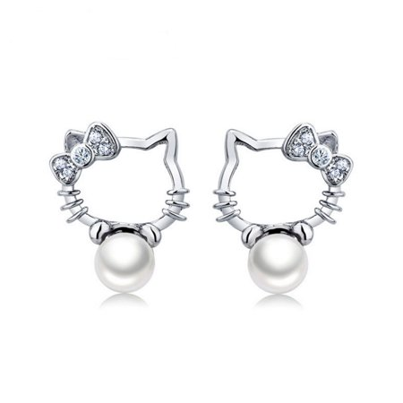 925 Sterling Silver Hello Kitty with Cultured Freshwater Pearl Women Stud Earrings