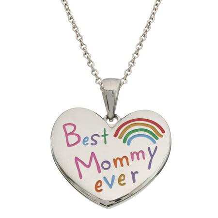 Mommy Heart (Stainless Steel Best Mommy Ever Heart Pendant, 18+2 )