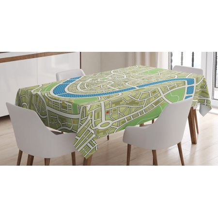 Map Tablecloth  Street Map Without Names Metropolis Capital City Downtown Urban  Rectangular Table Cover For Dining Room Kitchen  60 X 90 Inches  Avocado Green Lime Green Blue  By Ambesonne