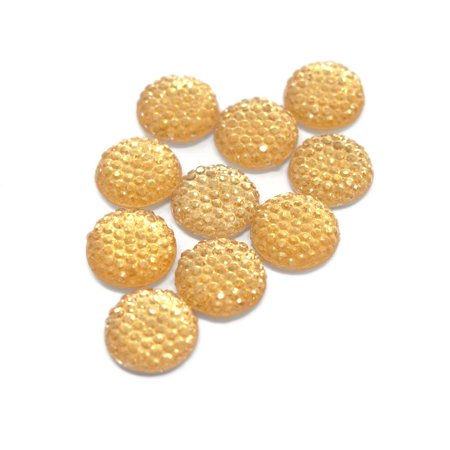 Round Self Adhesive Diamond Cluster Gems, Gold, 12mm, 10-Count