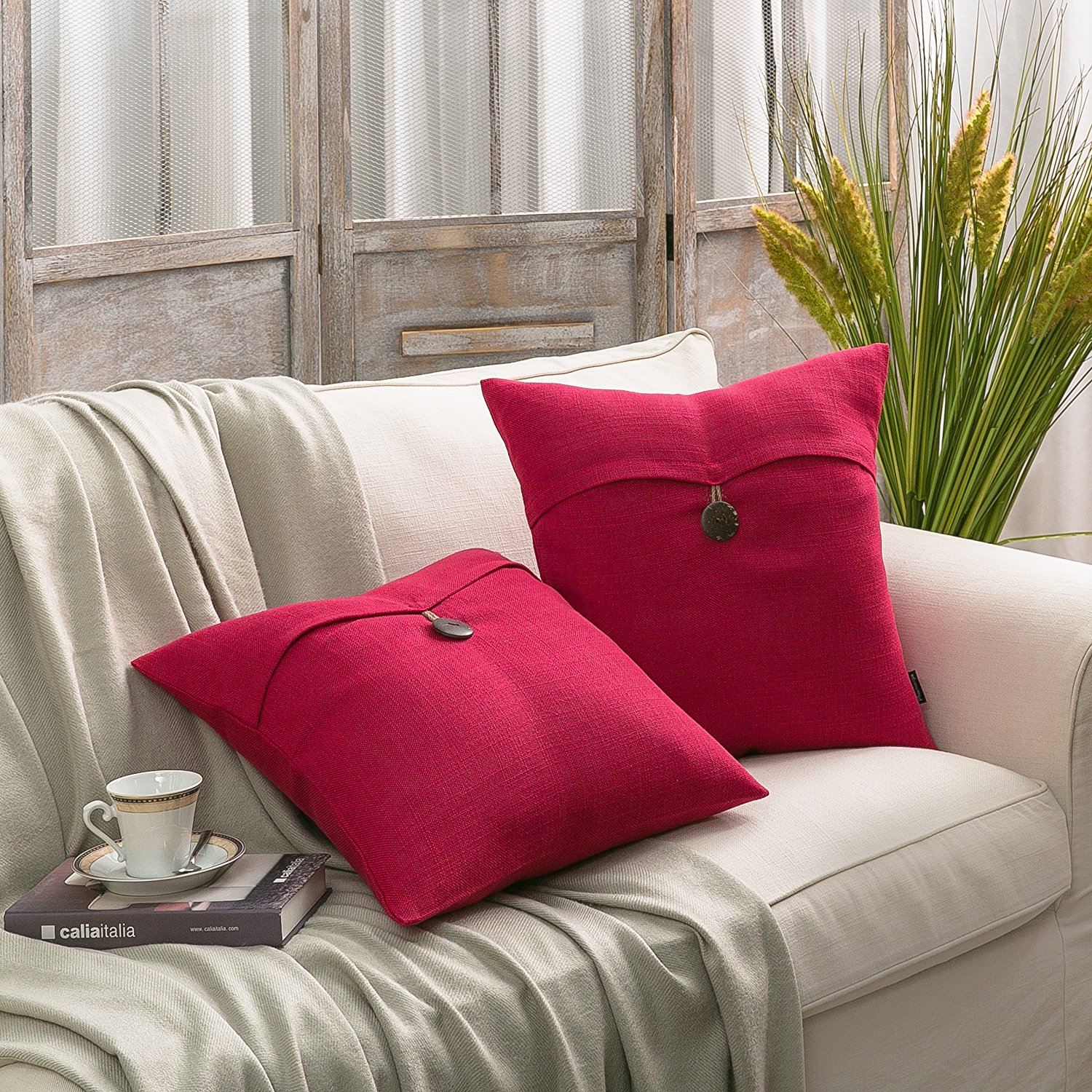 Phantoscope Decorative Button Throw Pillow Cover Set of 2 (Red) by