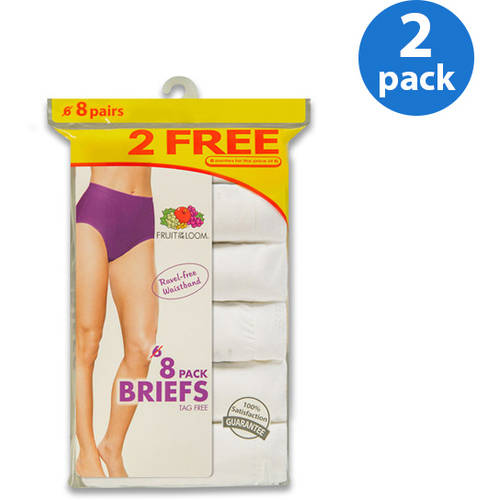 Fruit of the Loom Ladies' White Cotton Briefs 6+2 Bonus Pack