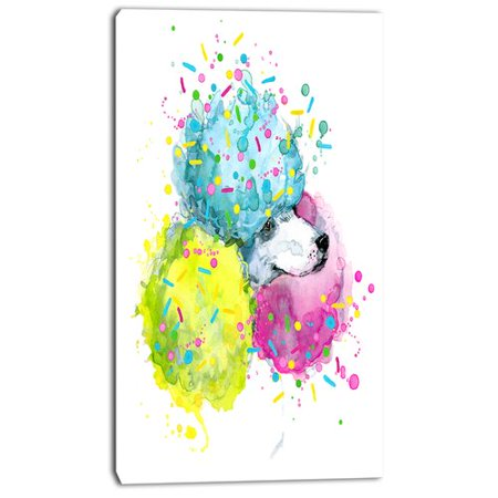 Design Art 'Cute White Dog with Color Spheres' Painting Print on Wrapped Canvas ()