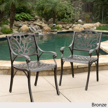 Aluminum Outdoor Chair (Alfresco Outdoor Cast Aluminum Dining Chairs - Set of 2 )