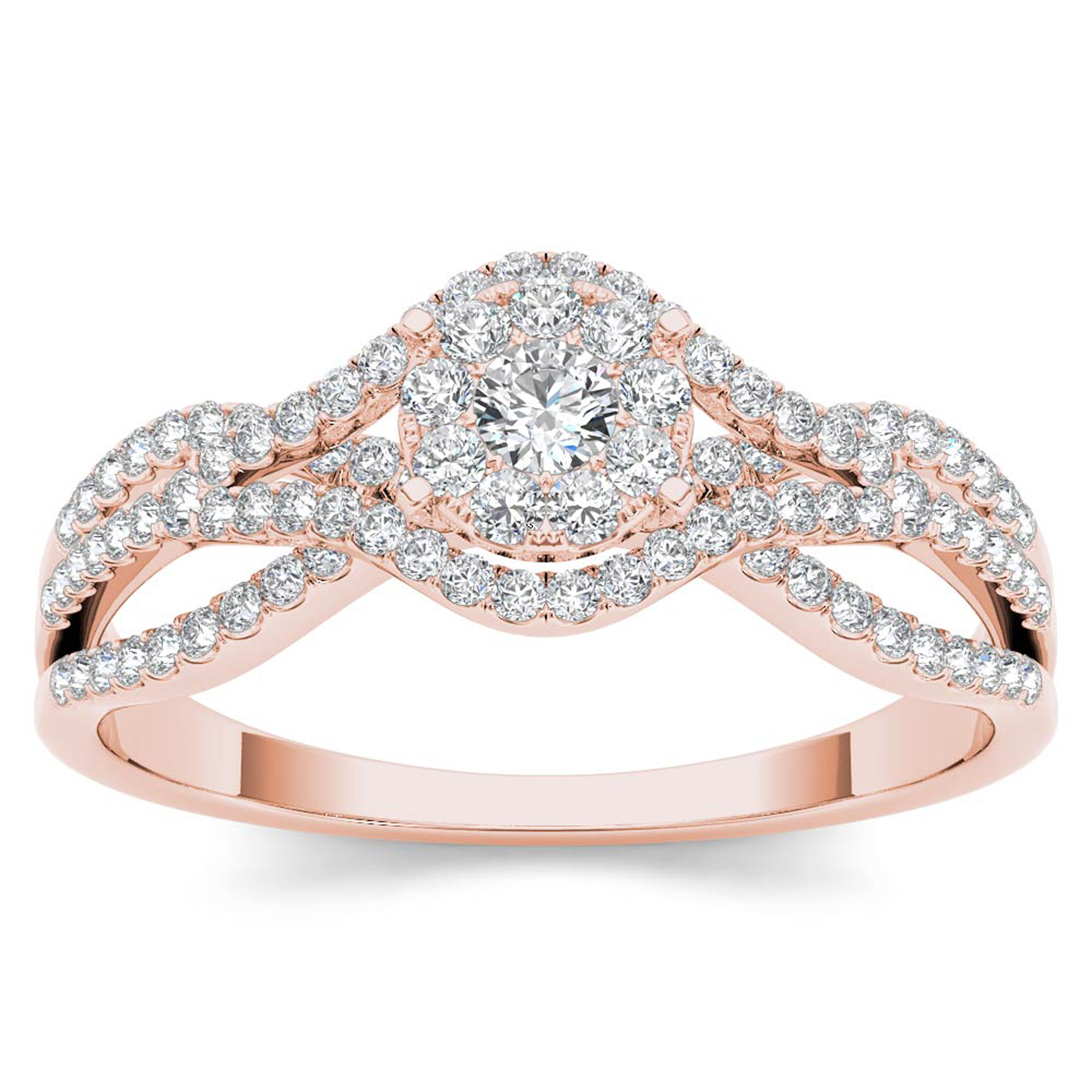 Imperial 1 2Ct TDW Diamond 10K Rose Gold Cluster Split Shank Engagement Ring by DE COUER NEW YORK LLC