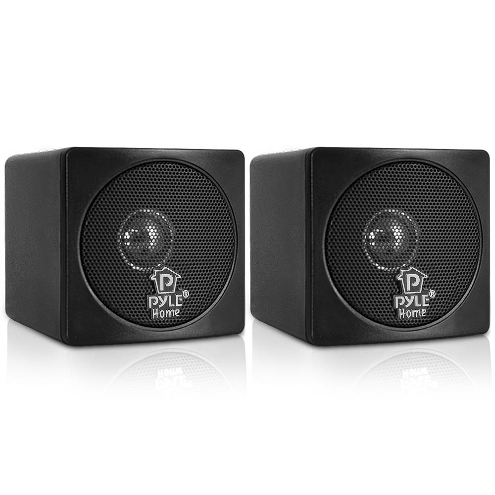 PYLE PCB3BK - 3'' 100 Watt Black Mini Cube Bookshelf Speaker In Black (Pair)