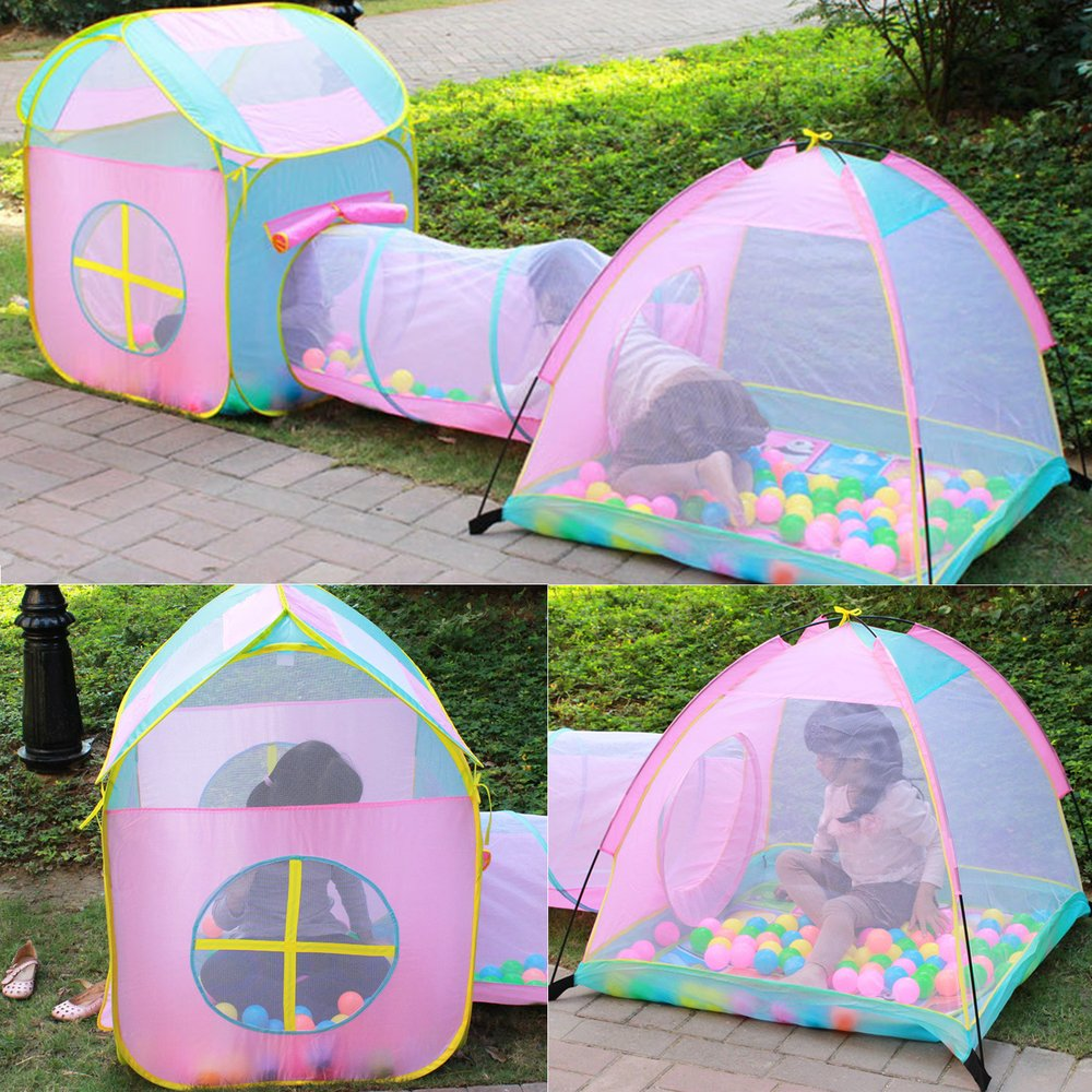 Three-Piece Suit Kids Play Tent With Tunnel Children's Game Tent Play House