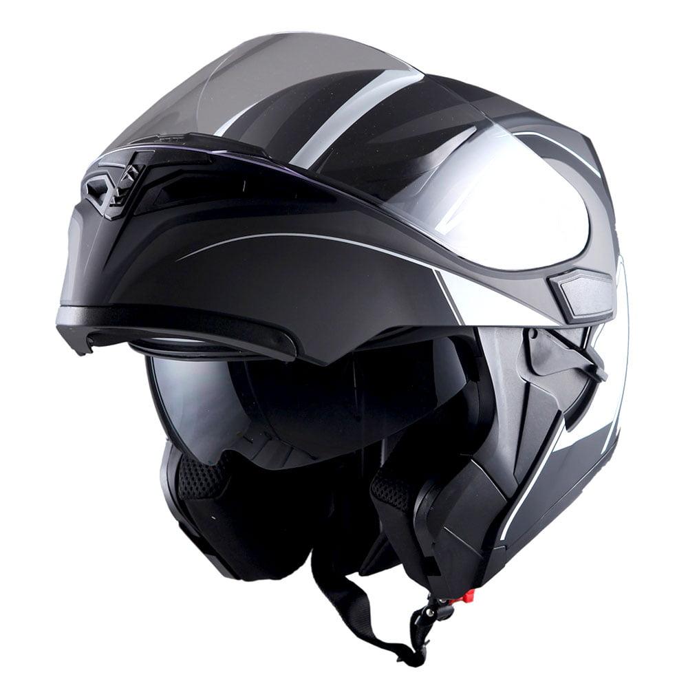 1Storm Motorcycle Street Bike Modular Flip up Dual Visor Full Face Helmet Matt Black HB89