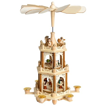 BRUBAKER Christmas Pyramid - 18 Inches - Wooden Nativity Play - 3 Tier Carousel