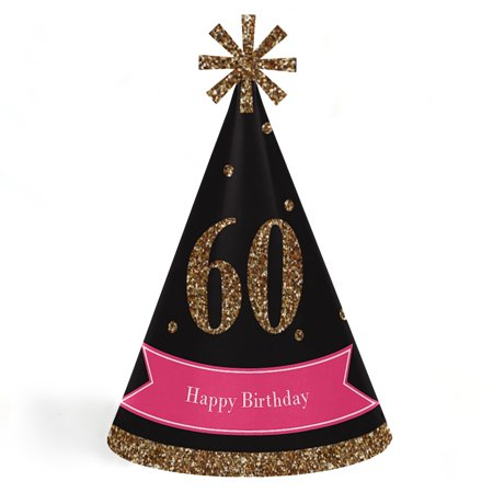 Chic 60th Birthday - Pink, Black and Gold - Cone Happy Birthday Party Hats for Kids and Adults -Set of 8 (Standard - 60th Birthday Hats