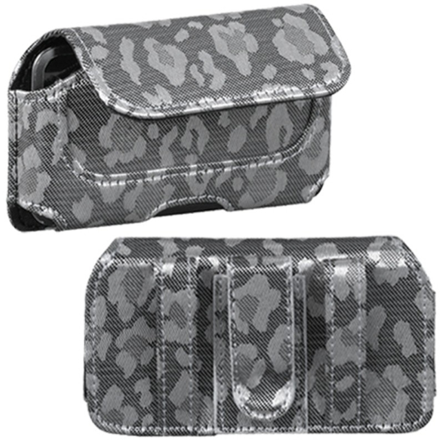 Insten Horizontal Pouch Case (722603)(Silver&Gray Watermark)(NO Package) for APPLE: iPod touch 1st 2nd 3rd 4th Gen