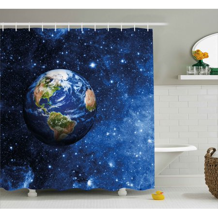 Space Shower Curtain, Outer View of Planet Earth in Solar System ...
