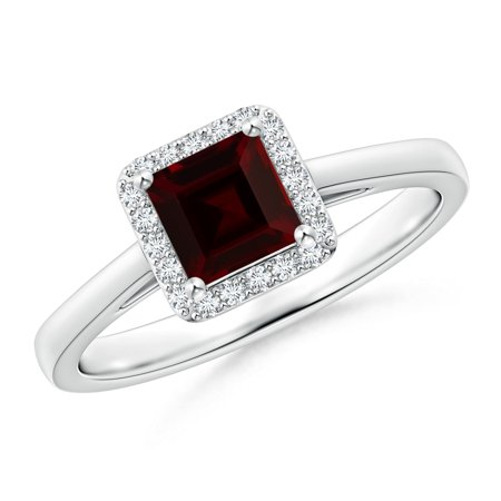 Valentine Jewelry Gift - Classic Square Garnet Halo Ring in Platinum (5mm Garnet) - SR0153GD-PT-A-5-4.5