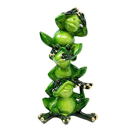 See Hear Speak No Evil Stacked Funny Green Frogs Sculpture Figurine Animal Gift