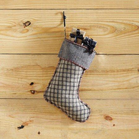 Slate Grey Traditional Christmas Decor Weston Fabric Loop Felt Windowpane - Gray Christmas Stockings