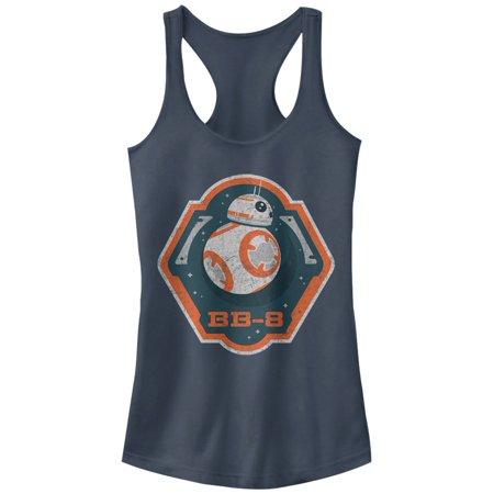 Star Wars The Force Awakens Juniors Bb 8 Badge Racerback Tank Top